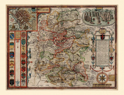 Wilshire (Wiltshire) Reproduction 17th Century Antique Map of Wiltshire by John Speed, With insets of Salisbury & Stonehenge and Decorative Coats of Arms Detail, Old Plan of Wiltshire County