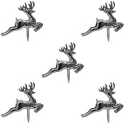 6 Silver Reindeer Cupcake / Cake Picks Decorations - Party