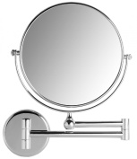 VELMA - AE802 7x - Premium two-sided cosmetic mirror / magnifying mirror / men's shaving mirror / make-up mirror - 7x magnification + normal size - can be turned in all directions - high-gloss chromed brass - no plastic - can be folded back to the wall ..