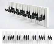 DuNord Design - Coat Hooks in Piano-Key Design - 16 Hooks - Black / White