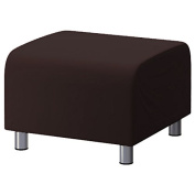 Shopisfy 100% Cotton Replacement Slipcover for Ikea Klippan Footstool with Hook and loop Fitting, Chocolate Brown