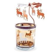 Copper Finish Metal & Glass Spinning Carousel Christmas Tea Light Holder with Reindeer
