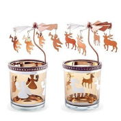 Set of Two Copper Finish Metal & Glass Spinning Carousel Christmas Tea Light Holders with Angels & Reindeer