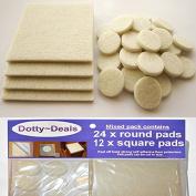 12x Square & 24x Round Self Adhesive Felt Floor Protector Pads