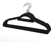 20 x BLACK NON SLIP FLOCKED VELVET HANGER COAT CLOTHES TROUSERS HANGING HANGERS WITH BAR