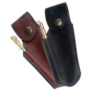 Finest quality leather sheath for Laguiole with sharpener   Black direct from France