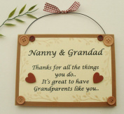 Nanny and Grandad keepsake wooden plaque/sign