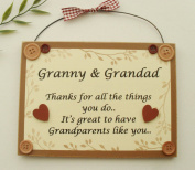 Granny and Grandad keepsake wooden gift Plaque/sign