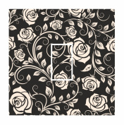 Sticar-it Ltd Cream & Black Classic Rose Floral Pattern Light Switch Sticker vinyl cover skin decal For Any Room