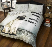 Pugsy Pug Dog Close Up Face Duvet Cover Quilt Bedding Set