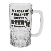 123t Mugs/Steins MY IDEA BALANCED DIET BEER IN EACH HAND 470ml Clear Glass Beer Mug/Stein