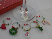 Set of 6 Christmas Design Wine Glass Charms by Libby's Market Place