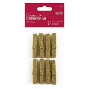 Papermania 8-Piece Glitter Pegs, Gold