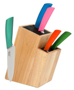 Melange 6-Piece Multicolor Handle and White Blade Ceramic Knife Set with 2-Tier Wood Universal Knife Block