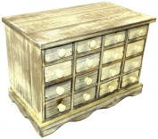 Geko 16 Drawer 35 x 19 x 24 cm Mini Storage Trinket Drawers, White Wood Shabby Chic Distressed Vintage Style
