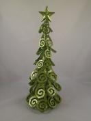 41cm Metal Swirl Petal Tree with Green Glitter - Christmas Decoration