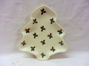 christmas holly small 13cm tree dish by Heron Cross Pottery.