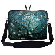 Meffort Inc 17 44cm Neoprene Laptop Sleeve Bag Carrying Case with Hidden Handle and Adjustable Shoulder Strap - Vincent van Gogh Almond Blossoming