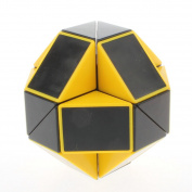 Energlite 24 Parts Foldable Colour Magic Snake Cube Jigsaw Puzzle Cube Toy Colour Black With Yellow