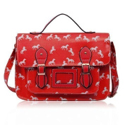 UniSex Boys Girls School College Bags OilCloth Horse Design Print Satchel Shoulder CrossBody Bags