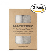 Exfoliating Bath Towel - 2 Pack - Grey and White Knitted Nylon Cleansing Towel