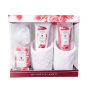 Upper Canada Soap Brompton and Langley Body Lotion and Scrub Slipper Set, Frosted Cranberry