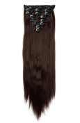 FIRSTLIKE 8 Pieces Clip in Hair Extension Full Head Long Straight 60cm Medium Brown Fashion Hair Extensions