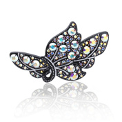DoubleAccent Hair Jewellery Simulated Crystal Butterfly Hair Barrettes,