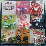 Scunci Celebration Bow Clips 8 Pc Girls Holiday Barrettes