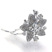 DoubleAccent Hair Jewellery Simulated Crystal Floral Hair Bun Stick, White