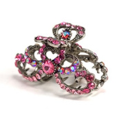 DoubleAccent Hair Jewellery Simulated Crystal Hearts and Ribbons Hair Jaw, Pink
