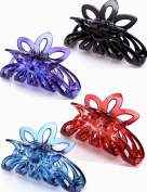 Prettyou 8.9cm Plastic Large Clip Hair Claws for Women, Pack of Four