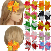 Lclhb® 12pcs 10cm - 11cm Women Girl Children Hair Bows Hair Clips Alligator Clip Grosgrain Ribbon 12 Colour Dc01 (DCL0101