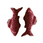 CSKB PURPLE 2 PCS 60mm Koi Fish-shaped Ceramic Door Knob For Cupboard/Cabinet/Bathroom/Drawer Great Furniture Ornaments For Nursery/Baby Room 6 Colours Available