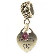 Mimi Heart with Amethyst Crystal, February Birthstone, Sterling Silver Dangle Charm