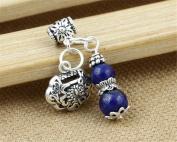 Luoyi 1pc Natural Lapis Lazuli Gourd Pendant, Sterling Silver Longevity Lock Dangle Bead Fit DIY Jewellery