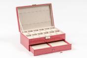 Pink 12 Slot Pillow Leather Watch Jewellery Bracelet Earing Ring Box Storage Organiser