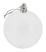Christmas Balls Festive Season Decor Holiday Hanging Ornament Xmas Tree Clear See Through Decoration w/ Hanger - 24 Pc Set