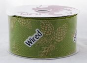 Gold Sparkle Pinecone on Green Burlap 6.4cm Wide Wired Ribbon 25 yards