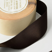 2.5cm - 1cm Double Faced Silk Satin Ribbon by 10 Yards Roll, Brown