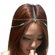 Pandahall 1 Pcs Fashion Women Bohemian Metal Head Chain Forehead Dance Headbands Hair Jewellery, Golden