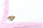 Knitted & Crochet White Cotton Pink Trim Large Baby Blanket with Tiger Cub