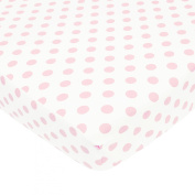 TL Care 100% Cotton Percale Fitted Crib Sheet, White with Pink Dot