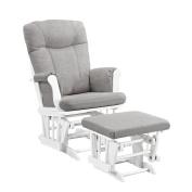 Angel Line Monterey Glider & Ottoman, White with Grey Cushion