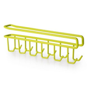 AUCH 1Pcs Multi-function Nail Free Under-the-closet Double Row Cup Mug Hooks Clapboard Interlayer Storage Rack Shelf Space Saving Design in the Kitchen, Green