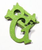 Green Apple Glitter HandCut 3.8cm Chipboard Uppercase Letters Alphabet set 60 pcs Stickers