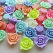 Chenkou Craft Multi Colour 3D Acrylic Rose Flowers Beads with Straight Hole 20mm 40pcs