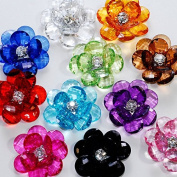 Valley Mall Assorted Acrylic Flower Lotus Gems with Rhinestone Centre for Crafts DIY Embellishments