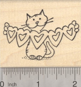 Valentine Cat Rubber Stamp, with Heart Cut Outs