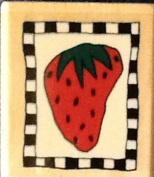 Strawberry Checkerboard Wood Mounted Rubber Stamp - Lori Walters